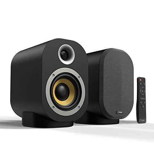 Altavoces Autoamplificados Activo 40W + Pasivo 20W con Bluetooth, Altavoces Activos HiFi RCA para Tocadiscos, TV, Ordenador Sobremesa, PC, DJ con Mando a Distancia