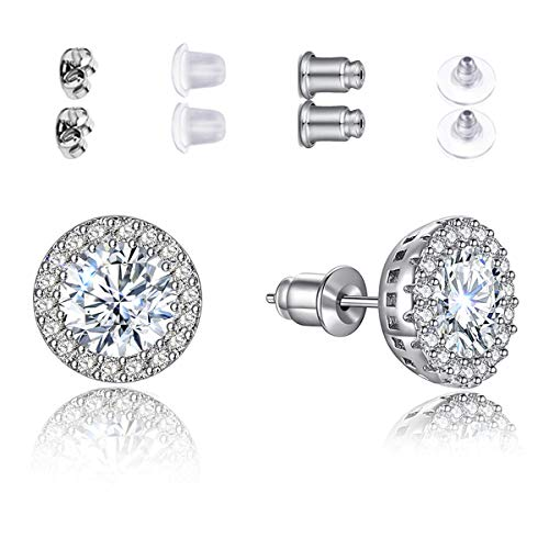 Stud Earrings White Round Earrings for Girls Fashion Cubic Zirconia Halo Earrings for Women Men