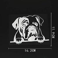 カーステッカー 16.2CMX11.9CM楽しい英語ブルドッグチラッと覗く犬ビニール車ステッカーブラック/シルバー カーステッカー (Color Name : Silver)