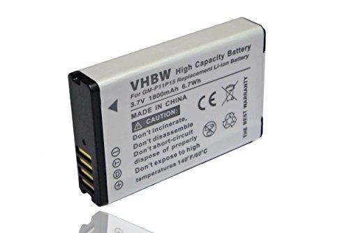 vhbw batería 1800mAh (3.7V) para Navi GPS Garmin E1GR, E1GR VIRB Elite,...
