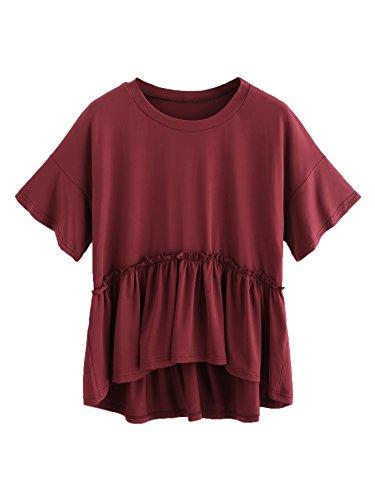 Romwe Women's Loose Ruffle Hem Short Sleeve High Low Peplum Blouse Top Burgundy M