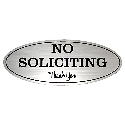"""No Soliciting Sign – Digitally Printed Indoor/Outdoor Sign – Durable UV and Weather Resistant (Medium - 2.8"""" x 7"""", Silver with Black Letters)"""