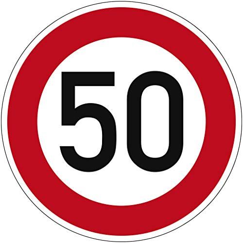 Verkehrszeichen Zulässige Höchstgeschwindigkeit 50 Nr. 274-50 | Ø 420mm, Alu 2mm, RA1 | Original Verkehrsschild nach StVO mit RAL Gütezeichen | Dreifke®