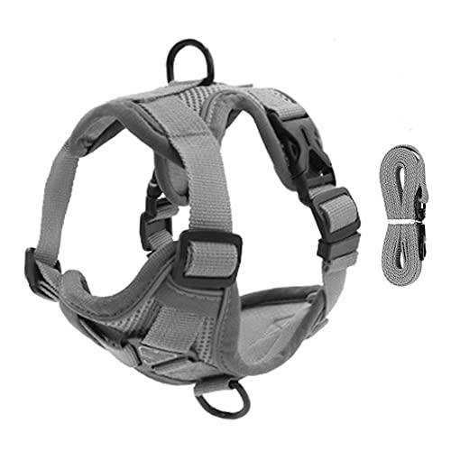 Arnés para perros Pet Reflective Nylon Dog Harness No Pull Adjustable Medium Large Naughty Dog Vest Safety Vehicular Lead Walking Running Arnés para gatos (Color : Gray, Size : Medium)