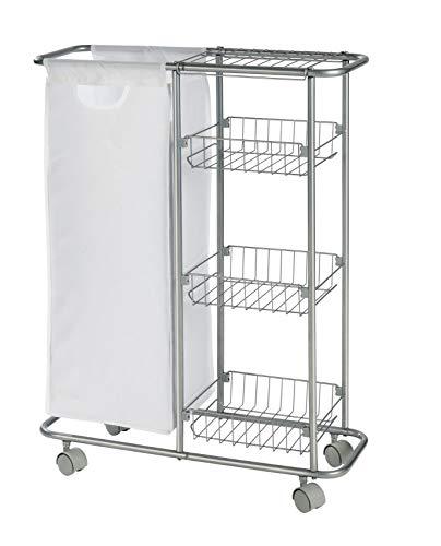 WENKO Sammelwagen Slim - 3 Etagen, abnehmbarer Sack Fassungsvermögen: 28 l, 20 x 80 x 58 cm, grau