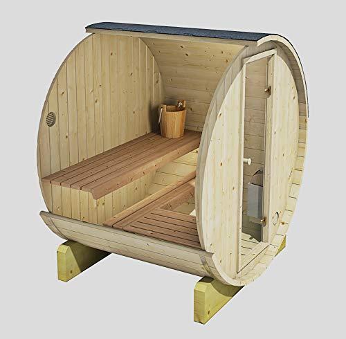 Allwood Outdoor/Indoor 3 Person Barrel Sauna #160-EHC with 3.0 kW UL Certified Electric Heater.