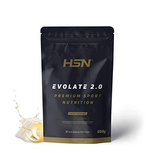 Aislado de Proteína de Suero de HSN Evolate 2.0 | Whey Protein Isolate | Proteína CFM + Enzimas Digestivas (Digezyme) + Ganar Masa Muscular | Vegetariana, Sin Gluten, Sin Soja,Choco Blanco Limón,500g