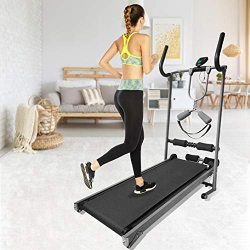 Yinguo Folding Mechanical Treadmill, Adjustable Manual Treadmill Incline Running Belt Jogging Walking Machine Exercise Equipment with LED Display, Two Armrest for Home Gym Cardio Fitness Workout
