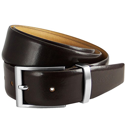 Pierre Cardin Mens leather belt/Mens belt, leather belt curved with metal loop, dark brown, Farbe/Color:marron, Size:100