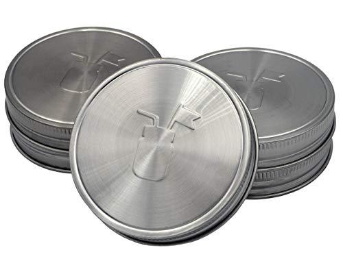Mason Jar Lifestyle Couvercles de rangement en acier inoxydable antirouille avec revêtement en silicone platine (lot de 5, ouverture large)