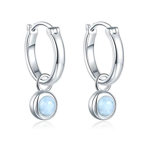 Hutang Pendientes de plata de ley 925 con forma de larimar con gemas de piedra preciosa para mujer, el mejor regalo