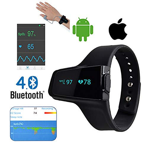WSN Handgelenk-Pulsoximeter, Herzfrequenz-Atemschlafmonitor, Fitness-Tracker für Schlafapnoe, Sn COPD APP PC-Bericht,A