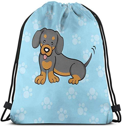 Zaino con coulisse Borsa unisex per viaggi in palestra, cartone animato cucciolo con felice Exprion sul suo viso Stampa sfondo zampa
