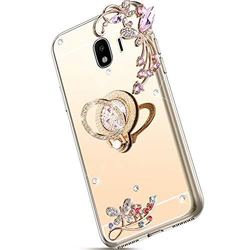 Saceebe Compatible avec Samsung Galaxy J4 2018 Coque Silicone Paillette Brillante Bling Glitter Miroir Étui Anti-Choc Coque Silicone TPU Souple Housse avec Anneau Support Téléphone Bague,Or