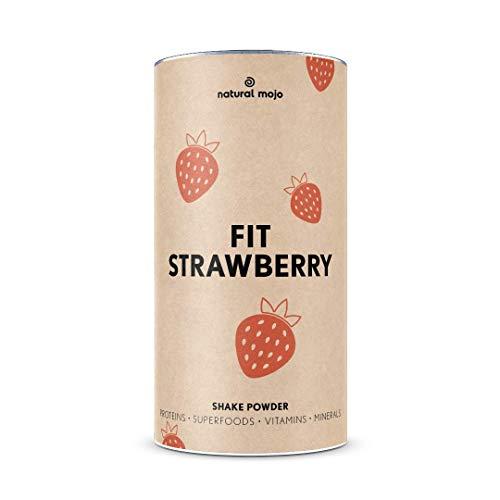 Natural Mojo Fit Strawberry – Fit Shake (500 g) – Shake mit wertvollen Superfoods – leckerer Drink aus leicht löslichem Eiweißpulver – mit Erdbeer-Geschmack