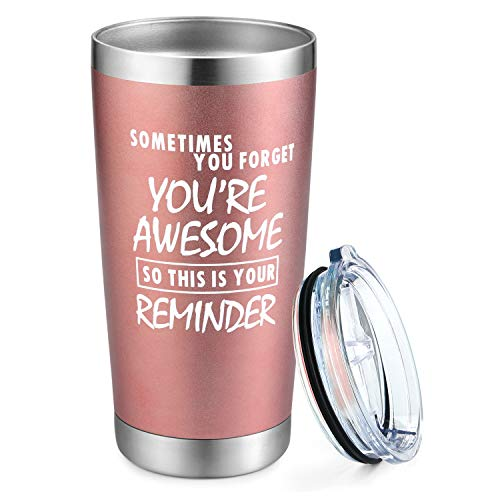 Yousu Sometime You Forget You're Awesome So This Is Your Reminder Wine Tumbler Thank You Graduations Gifts for Teacher Funny Birthday Gift for Women Friends Her Wife Mom Sister 20oz Stemless Insulated