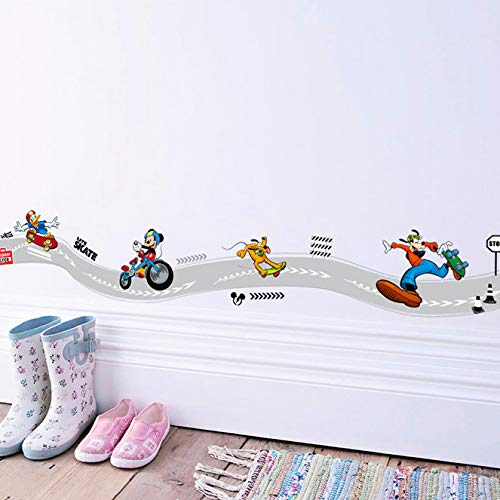 Cartoon Mickey Goofy Donald Duck Skateboard Sport Wandaufkleber Für Kinderzimmer Wandkunst Dekor Poster Diy Removable Decals