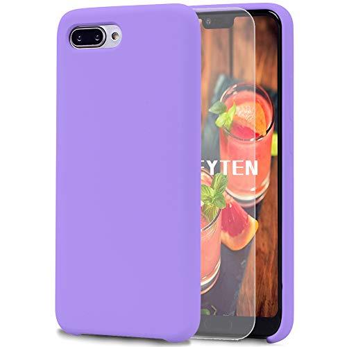 Feyten Cover Huawei Honor 10 [con Vetro Temperato], Custodia Gomma Gel Silicio Liquido con Fodera Microfibra Morbida Caso Silicone Sottile Protettiva Cover (Viola)