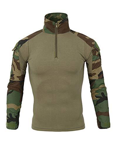 Cyiozlir Homme Pull Manches Longues Uniforme Militaire Camouflage Chemises de Combat Attaque Rapide Costume Vêtements de Travail Cycliste Shirt(Armée Vert,Small)