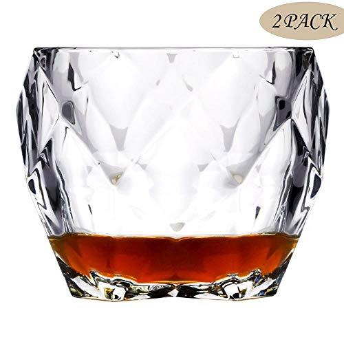 Bicchieri da whisky, Bicchieri di whisky di vetro senza piombo di alta qualità, Vetreria diamantata, Regali per la festa del papà, Feste, Bar, Ristoranti e regalo perfetto per famiglie, 2 pezzi