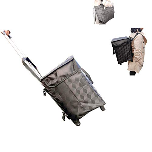 Foldable Shopping Trolley Bag with Wheel Backbag Straps - Fineget Folding Grocery Utility Cart Telescoping Handle for Women Travel Trip Vacations Camping Beach Play Picnic Laundry Luggage School Black