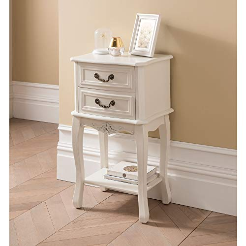 homesdirect365 Etienne White Antique French Style Bedside Table