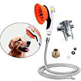 Buy-plus Pet Shower Sprayer Tool Kit - Dog Bathing Sprayer Head with Shower Brush Scrubber and Splash Shield,All-in-One Bath Attachment Set for Cleaning,Grooming and Massage