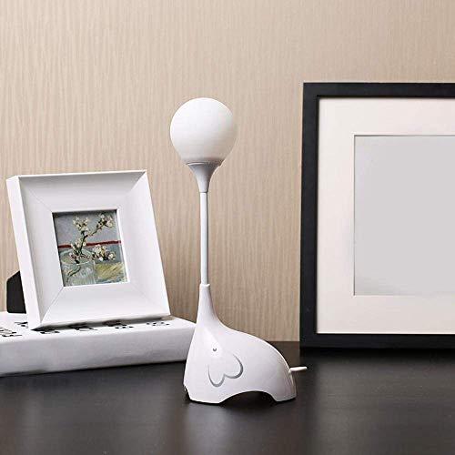 Scra AC Creativo Adorable Durable Regulable Elefante Plegable Lámpara de Escritorio LED con Puerto USB, Interruptor táctil for decoración de niños, Dormitorio, Estudio, Oficina, Blanco