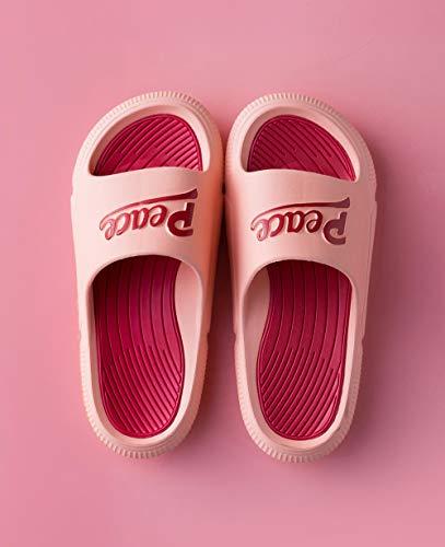 quming Ducha Playa y Piscina Slide Zapatilla,Sandalias de Moda al Aire Libre, Zapatillas Antideslizantes en Contraste de baño-Pasta de Frijol Rojo_39-40