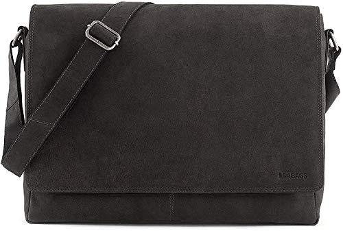 LEABAGS Oxford Umhängetasche Leder Laptoptasche 15 Zoll aus echtem Büffel-Leder im Vintage Look, (LxBxH): ca. 38x10x31 cm - Schwarz