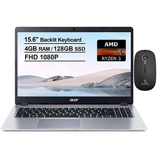 2020 Acer Aspire 5 15.6 Inch FHD 1080P Slim Laptop  AMD Ryzen 3 3200U up to 3.5 GHz  4GB RAM  128GB SSD  Backlit KB  WiFi  Bluetooth  HDMI  Windows 10 + NexiGo Wireless Mouse Bundle