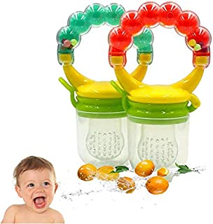 Baby Food Fruit Feeder 2 Pack, LANSERM Silicone Feeder Shake Rattle Teething Toy Teether