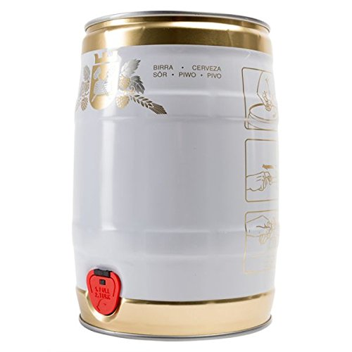 Party Barrel, 5 L, white / gold colored closure, factory design, includes combined closure, distillery accessories, amateur brewer