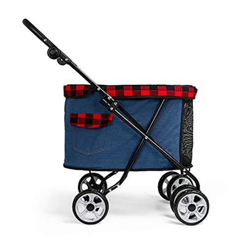 Caige Kinderwagen, Leicht zusammenklappbarer Panorama-Skylight-Vierrad-Hundewagen für kleine und mittlere Hundekatzen,Blau