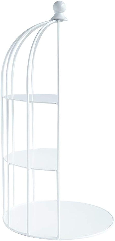 Tableau blanc de desserts d'art de fer, présentoir de gateau de mariage de cage à oiseaux
