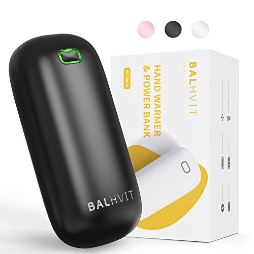 Balhvit 2s Instant Heating Rechargeable Hand Warmer, 6400mAh 5-10H Electric Hand Warmer Heater, Portable Pocket USB Battery Power Bank Reusable Hand Warmer for Outdoor Sports Warm Gifts for Women Men
