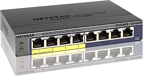 NETGEAR 卓上型コンパクト アンマネージプラス スイッチングハブ GS108PE ギガビット8ポート (PoE 4ポート 53W) 日本語GUI 省電力