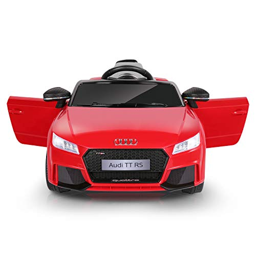 METAKOO Ride on Car Licensed Audi TT RS, 12V Kids Electric Motorized Car with 2.4G Remote Control, LED Lights, High/ Low Speed, Horn, Safety Belt, MP3 Music Player, AUX &USB Port-Red