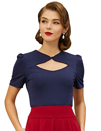 1950s Retro Blouse for Women Keyhole Short Sleeve Tops and Blouse Navy Blue Size L