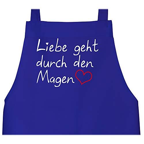 Shirtracer Schürze mit Motiv - Liebe geht durch den Magen - 80 cm x 73 cm (H x B) - Royalblau - schürze mann - X967 - Schürze und Kochschürze für Erwachsene