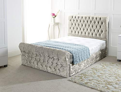 Chesterfield Sleigh Bed In Crushed Velvet |Bed Frame Only (4FT6 Double, Cream)