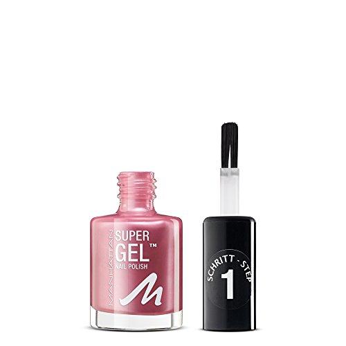 Manhattan Super Gel Nagellack – Gel Maniküre Effekt ganz ohne UV Licht – Roséfarbener Nail Polish mit bis zu 14 Tagen Halt – Farbe Pretty Rose 285 – 1 x 12ml