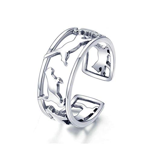 Ategazza Offene Ringe Katze 925 Sterling Silber Verstellbare Ringe ga8