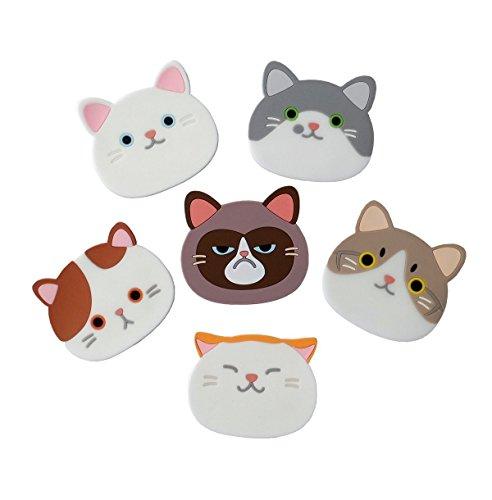 Top819 Untersetzer-Set 6-teilig mit süßen Cartoon-Katzen-Designs aus Silikon