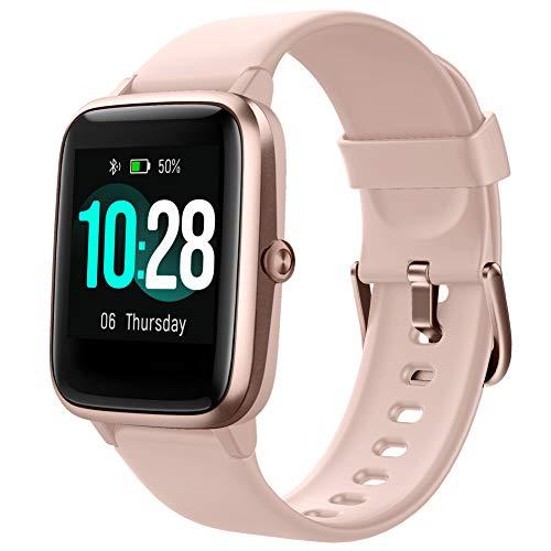 Smartwatch Reloj Inteligente iOS Android con Monitor de Ritmo Cardíaco y Sueño, Contador de Calorías Pasos,Control de Música,Reloj Deportivo Pulsera Actividad Impermeable para Mujere Hombre (Rosa)