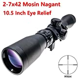 Viiko Long Eye Relief Scope 2-7x42 Mildot Reticle Fits Mosin 1891/30 M39 LER Scope with Picatinny 1913 Ring Mounts