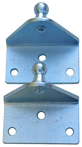 Large Outside Mount Angled Lift Support Bracket - Zinc Plated 10 Gauge Steel - 10mm Ball Stud - Gas Shock Mounting - Lid Strut Prop Spring Mount