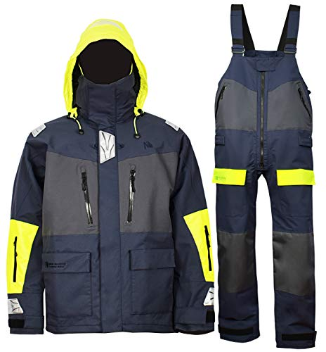 Offshore Jacket Bib Pants for Men Women Sailing Fishing Rain Suit Foul Weather Gear PRO Breathable (Navy, X-Large)