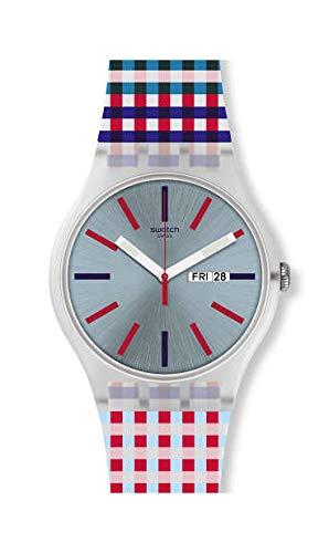 Swatch Unisex Erwachsene Analog Quarz Uhr mit Silikon Armband SUOW709