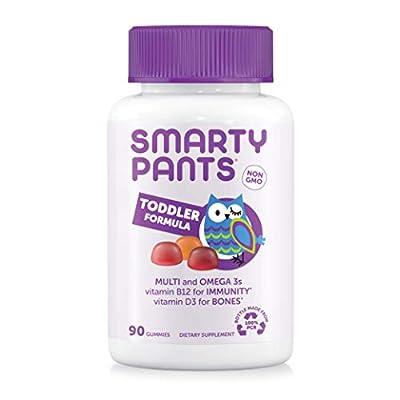 SmartyPants Toddler Formula Daily Gummy Multivitamin: Vitamin C, D3, & Zinc for Immunity, Gluten Free, Omega 3 Fish Oil (DHA/EPA), , Vitamin B6, Methyl B12, 90 Count (30 Day Supply)